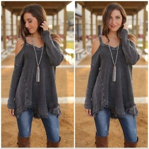Charcoal Mineral Wash Cold Shoulder Sweater Tunic